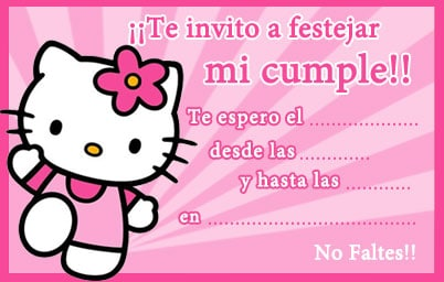 Tarjetas de invitaciones de Hello Kitty
