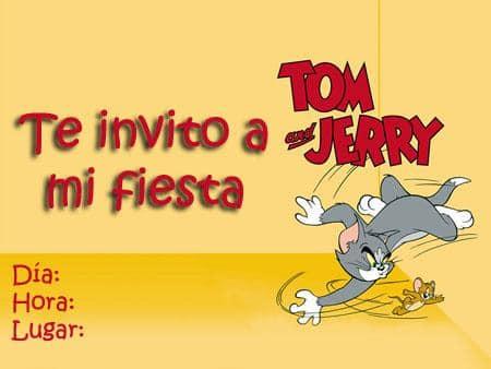 Te invito a mi fiesta, tarjeta de cumpleaños de Tom y Jerry
