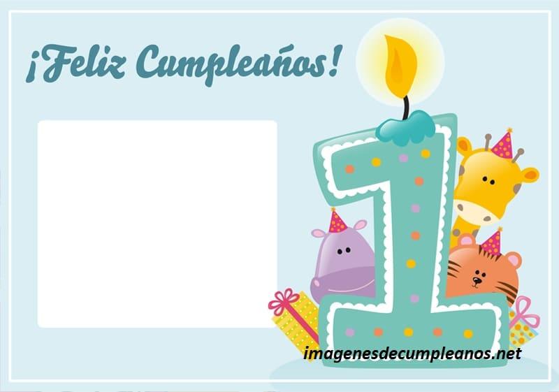Imágenes y felicitaciones de cumpleaños para bebés de 1 año, inserta su foto en el recuadro